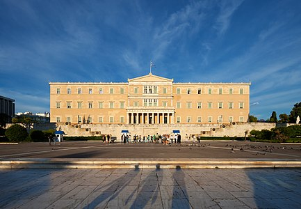 Hellenic Parliament in Athens, Greece before sunset