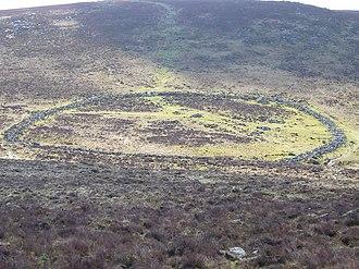 Grimspound - View of Grimspound from Hookney Tor