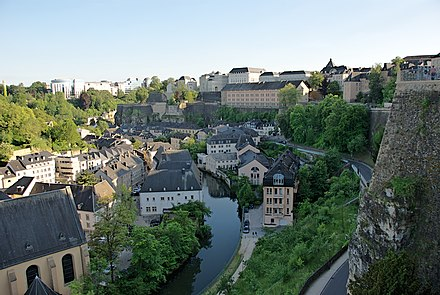 View of the Grund along Alzette river in the historical heart of Luxembourg City. Grund, Luxembourg from wall above.jpg