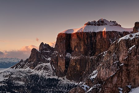 Sella group in the evening, Dolomites Alps