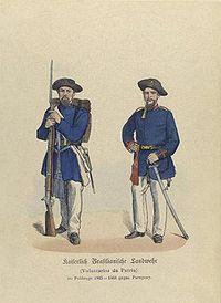 Soldados do Corpo de Voluntários da Pátria, criada pelo ex-farroupilha Manuel Lucas de Oliveira. Os Voluntários da Pátria eram organizados em batalhões que incluiam ex-escravos, mas que não ultrapassaram 10% do efetivo total.