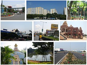 Clockwise from Top Left: Guntur Municipal Corporation, Major residential buildings, Guntur Medical College, ISKON Temple, Chuttugunta center, A park with pond in Gujjanagundla, Viswa Mandir, Railway Station, One-town center.