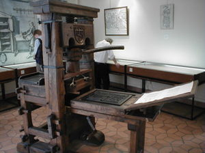 Northern Renaissance - Reproduction of Johann Gutenberg-era Press on display at the Printing History Museum in Lyon, France.