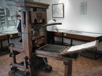 Northern Renaissance - Reproduction of Johannes Gutenberg-era Press on display at the Printing History Museum in Lyon, France.