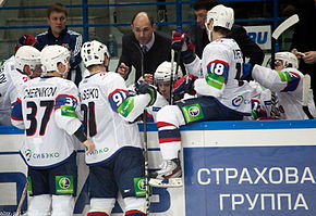 alt=Description de l'image HC Sibir bench during 2011-12-04 Amur-Sibir KHL-game.jpeg.