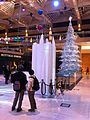 HK Central Landmark night Xmas tree n visitors Nov-2013.JPG