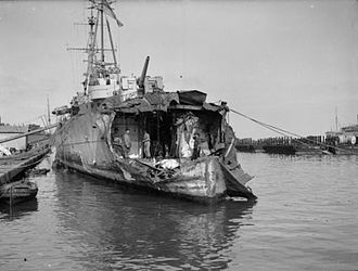HMS Delhi (D47) - Bomb damage to the stern of HMS Delhi during operations in North Africa