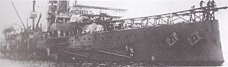Short S.27 -  No.38 perched on the foredeck runway installed on HMS ''Hibernia'', shortly before Commander Charles Samson  piloted it on the world's first aircraft take-off from a moving ship on 9 May 1912.