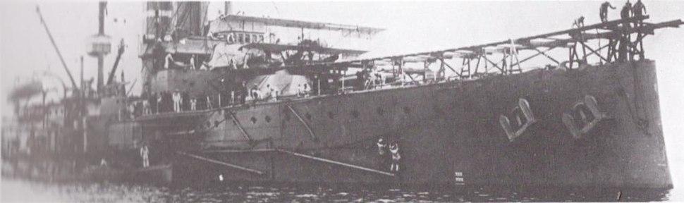 HMS Hibernia (1905) with aircraft and ramp