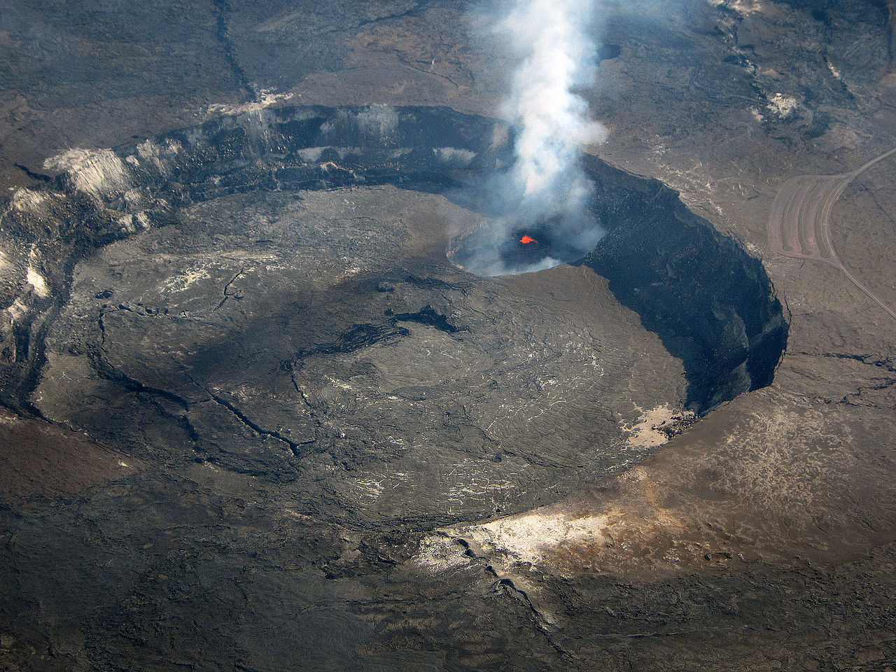 Halemaumau Crater in Hawaii - Oblique aerial view 20140112.jpg