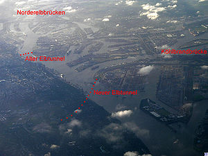 Elbe Tunnel (1975) - View of the Port of Hamburg (to the south east)