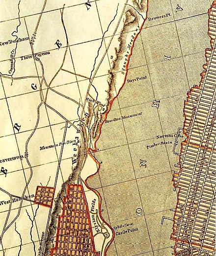 An 1841 map showing the location of a Hamilton monument Hamilton monument map.jpg