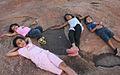 Happy children at sunset point, Hampi, India.jpg