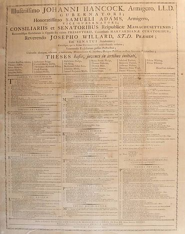 Broadside In Latin For July 20 1791 Exercises The Illustrious John Hancock Esq LLD Governor Honorable Samuel Adams Vice