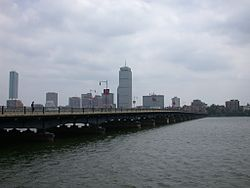 From Cambridge looking toward Boston, many smoots away. (Photo courtesy of Wiki Commons)