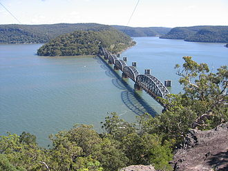 Central Coast & Newcastle Line - The Hawkesbury River separates Sydney and the Central Coast. The bridge over the river is one of the major engineering structures on the line.