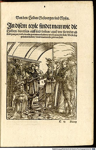 """Heldenbuch - The title page of the """"Heldenbuch-Prosa"""" in the 1545 edition, printed in Augsburg by Heinrich Steiner."""