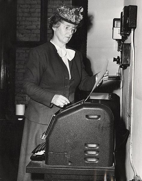 File:Helen C. White at mimeograph machine.jpg