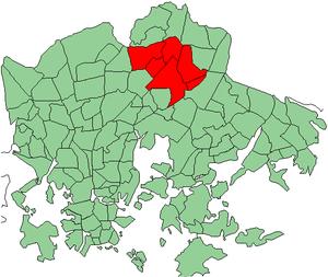 Malmi, Helsinki - Malmin peruspiiri highlighted