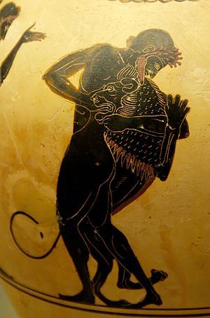 Labours of Hercules - Hercules and the Nemean lion (oinochoe, 520-500 BC, from Vulci)