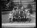 Herbert Hoover and group; State, War, and Navy building in background, Washington, D.C. LCCN2016889368.jpg