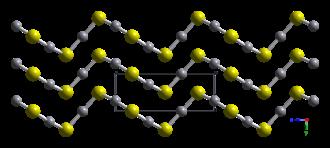 Mercury sulfide - Image: Hg S alpha cinnabar xtal 1999 looking down a axis CM 3D balls