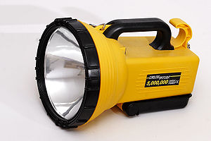 Flashlight - A  spotlight with a large reflector