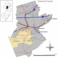 Map highlighting Hillsborough Township's location within Somerset County. Inset: Location of Somerset County in New Jersey.