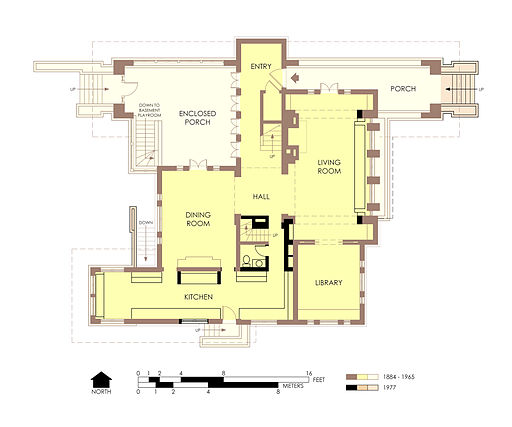 Hills-DeCaro House First Floor Plan Post-Fire