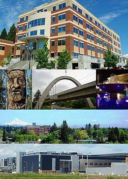 From top: City Hall, Chief Kno-Tah, Main Street Bridge, fountain at The Streets of Tanasbourne, Downtown with Mount Hood and Tuality Hospital in the background, and Intel's Ronler Acres Campus