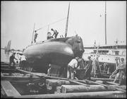 Holland (SSl). Starboard bow, on ways, 1900 - NARA - 512954