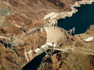 The Hoover Dam is an example of an arch-gravity dam. Hoover Dam (aerial view) - 30 April 2009.jpg