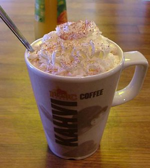 A mug of hot chocolate with whipped cream and ...
