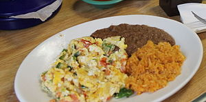 Huevos a la mexicana - Huevos a la mexicana served at a Mexican restaurant in Pilsen, Chicago