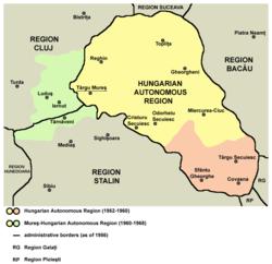 Location of Magyar Autonomous Region