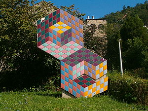 Op art - An optical illusion by the Hungarian-born artist Victor Vasarely in Pécs