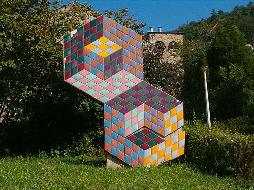 Outdoor Vasarely artwork at the church of Palos in Pecs Hungary pecs - vasarely0.jpg