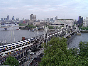 London Borough of Lambeth - Hungerford Bridge and the Golden Jubilee Bridges, seen from the north