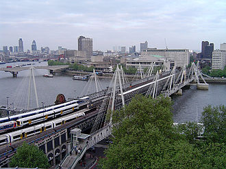 Hungerford Bridge and Golden Jubilee Bridges - Image: Hungerford Bridge, River Thames, London, England