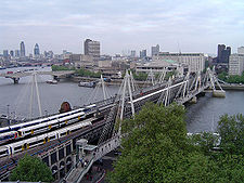Hungerford Bridge and Golden Jubilee Bridges, seen from the north