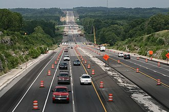 Indiana State Road 37 - Construction for the I-69 Corridor Project on SR 37 in Monroe County (2017).