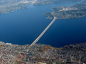 Mercer Island, Washington - Aerial view of the Interstate 90 floating bridge connecting Seattle and the northern part of Mercer Island.