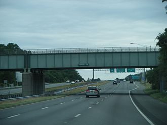 Interstate 95 in New Jersey - Former I-95 southbound (now I-295 northbound) in Ewing Township