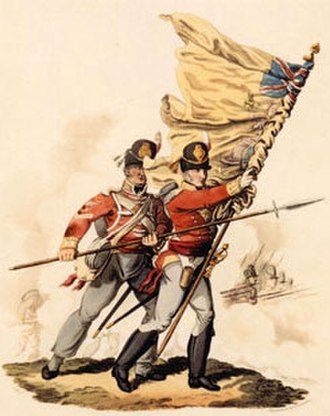 Royal Norfolk Regiment - Ensign and colour sergeant with colours of the 9th (East Norfolk) Regiment. 1813 illustration