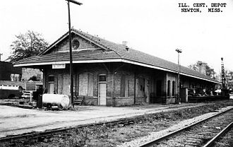 Newton station (Mississippi) - Newton Depot in 1968