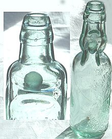 Codd Bottle And Glass Bottle Joined Together