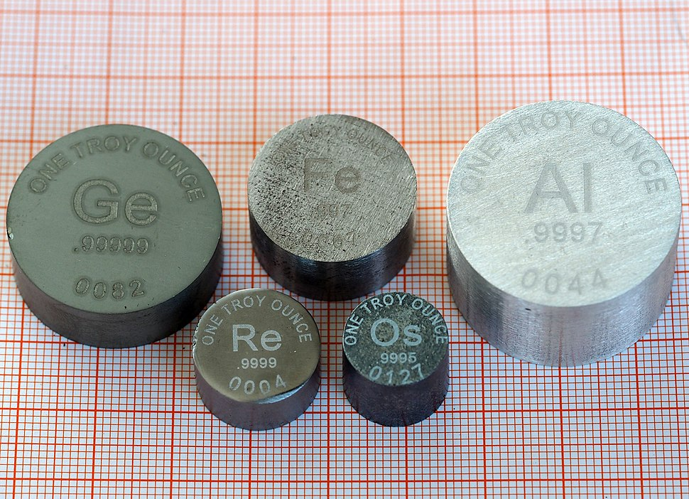 Ingots of Ge, Fe, Al, Re, Os, one troy ounce each (2)
