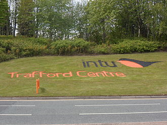 Intu Properties - The 2013 logo in landscaped form at the Trafford Centre.