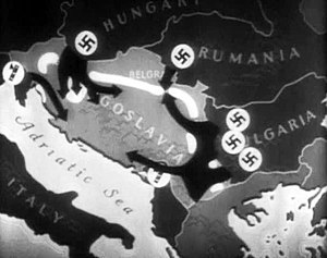 graphic map overlay showing the German thrusts into Yugoslavia
