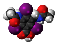 Space-filling model of the iodamide molecule